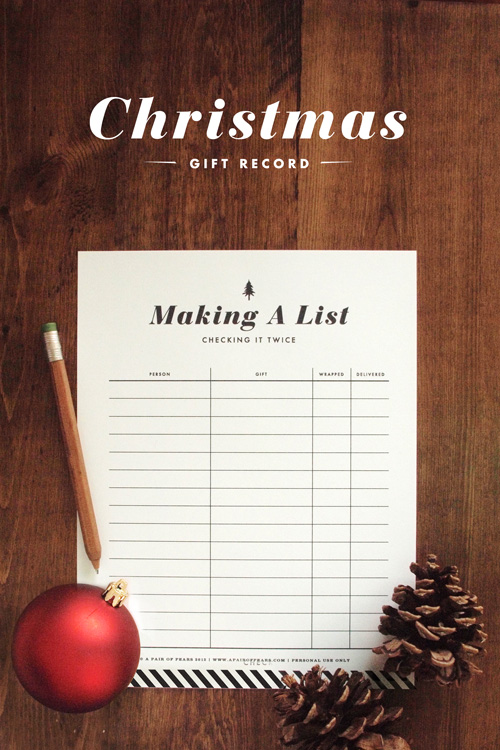 Making A List Christmas Gift Record Printable