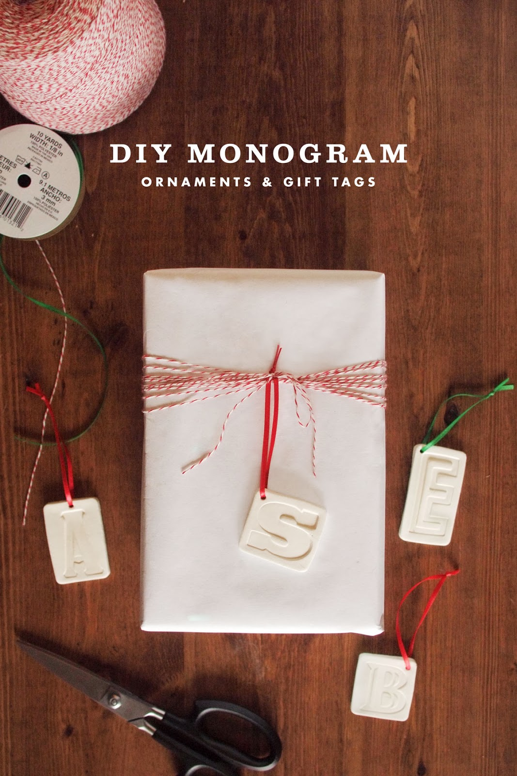 Diy clay monogram ornaments gift tags jamie bartlett for Diy monogram gifts